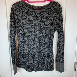 Prana Scroll Print Long Sleeve Thermal Knit Top M